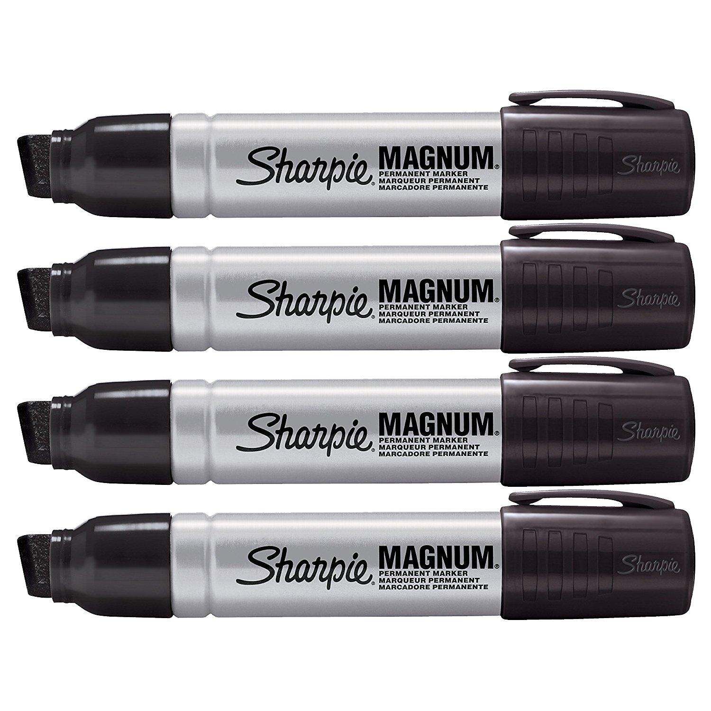 Sharpie Pro Magnum Professional Permanent Marker, Oversized Chisel Tip, Black Ink, Pack of 4