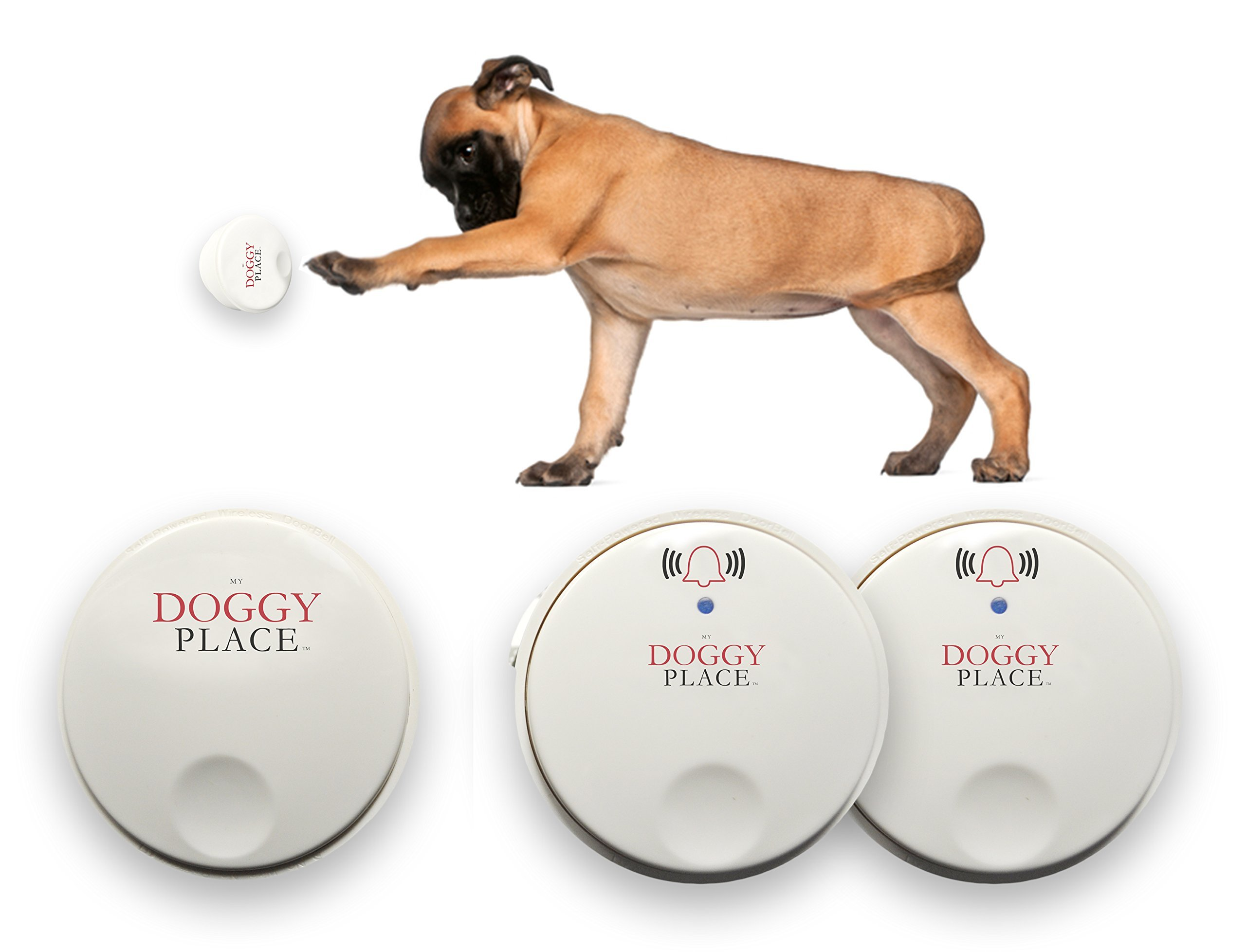 My Doggy Place - Dog Pet Children Toddler, Wireless Doorbell, No Batteries Required, Electronic Chime Bell, Potty Training, for Small, Medium, Large Dogs (Two Transmitters - One Receiver)