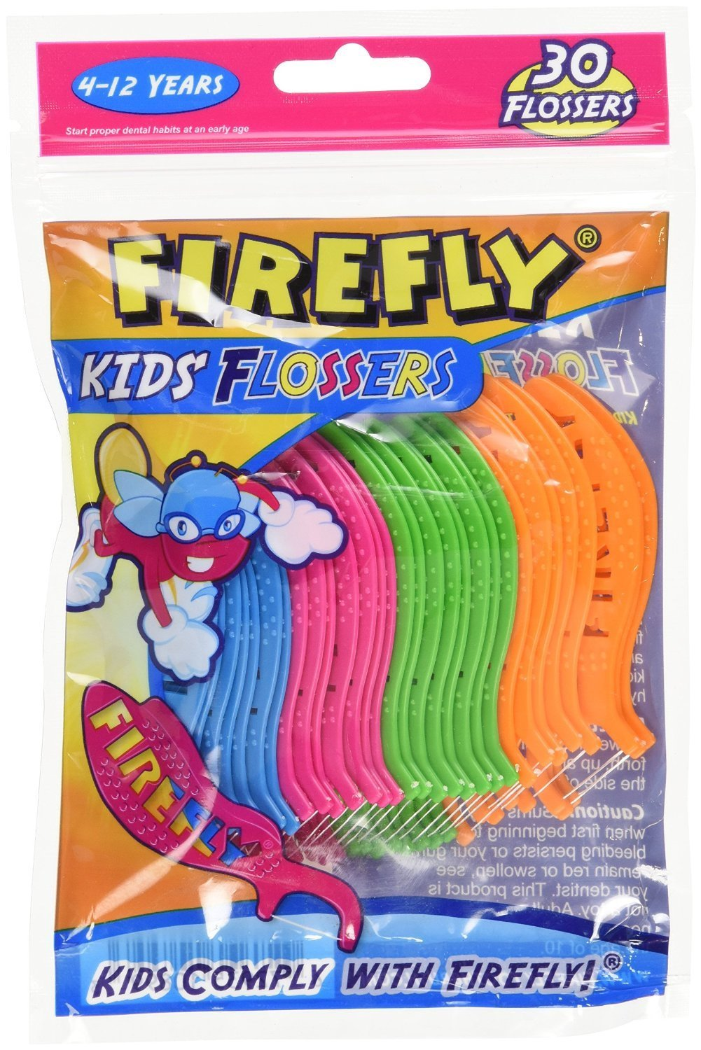 Firefly Flossers Kids 30 Count (12 Pieces) Dr. Fresh