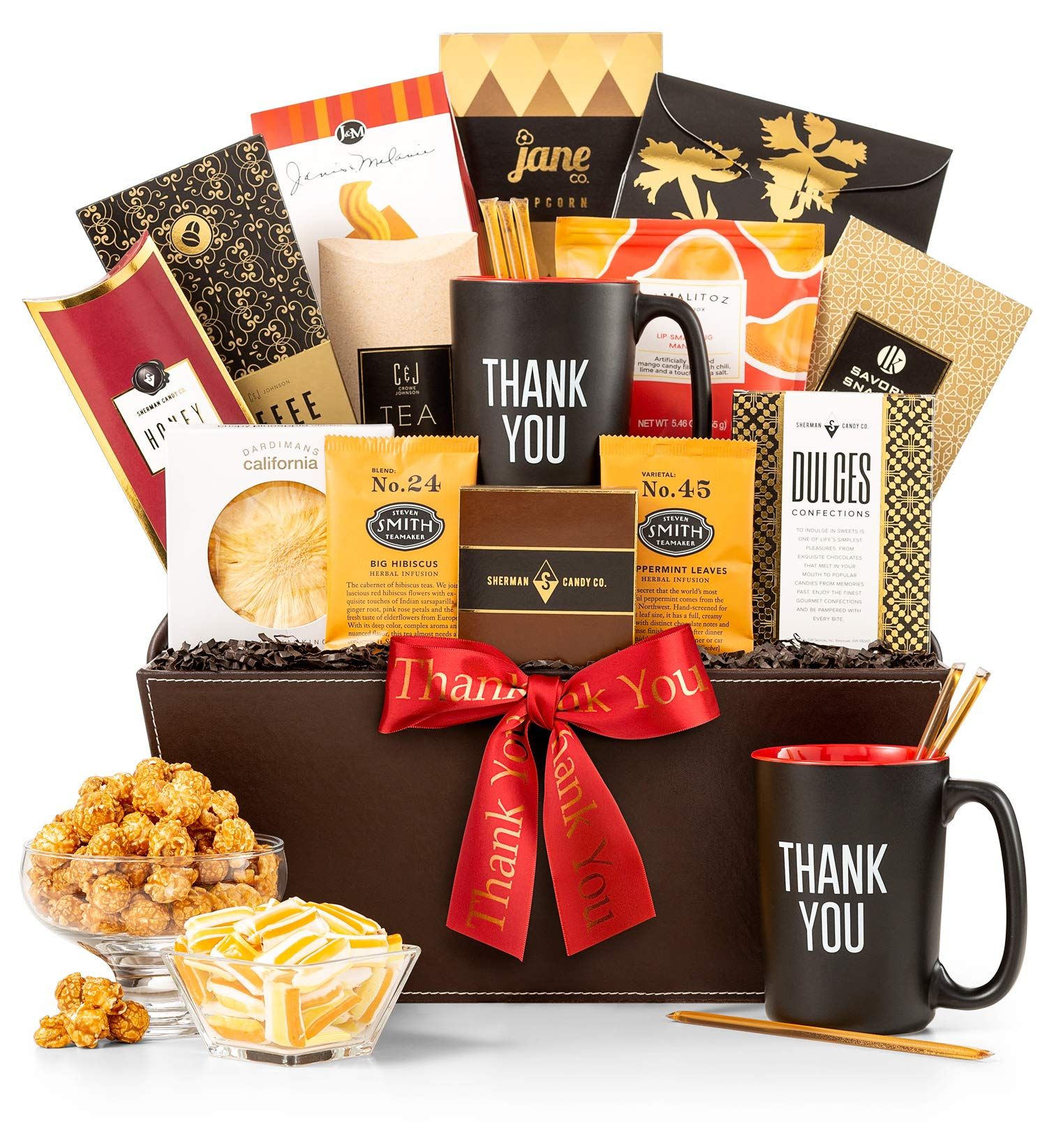 CDM product GiftTree A Thousand Thanks Gift Basket | Thank You Mug Included | Honey Sticks, Almond Biscotti, Peanut Brittle, Steven Smith Tea, Ghirardelli Hot Cocoa and More | big image