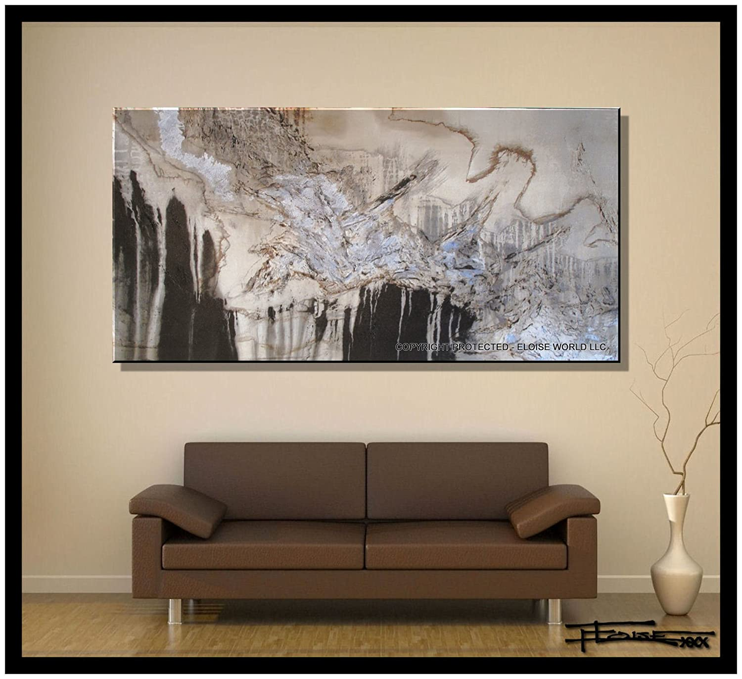 amazoncom xl modern canvas wall art  emerging eagle limited  - amazoncom xl modern canvas wall art  emerging eagle limited editionhand embellished giclee on canvas textured abstract painting  x  x oil