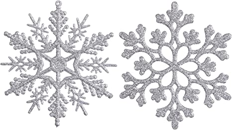 Amazon Com Sea Team Plastic Christmas Glitter Snowflake Ornaments Christmas Tree Decorations 4 Inch Set Of 36 Silver Furniture Decor