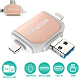 Micor SD Card Reader,BOYMXU Tf Card Reader For iPhone iPad Android Macbook Computer,Memory Card Reader Adapter,USB C, Micro USB, USB, Picture and Video Viewer for Camera-GOLD