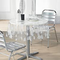 Decorline Round Tablecloth (0) 140 Printed Crystal 14/100e FEUILLE Blanc, White, 140x1x140 cm