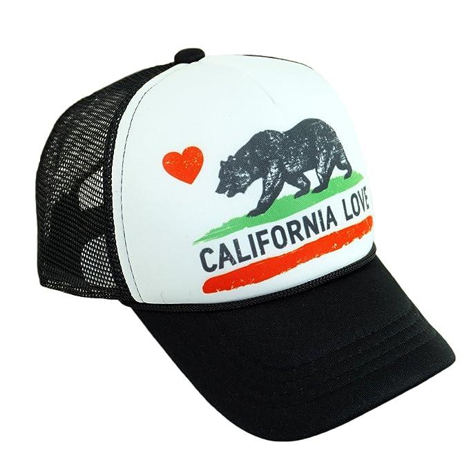 70d140fd4 California Love Printed Mesh Hat Heart Bear Trucker Adjustable Baseball Cap