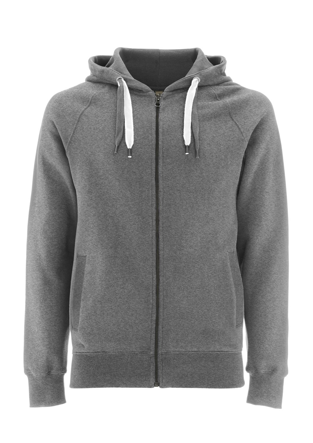 Melange Grey Hoodie for Men - Large - Mens Zipper Zip Up Cotton Sweatshirt by Underhood of London