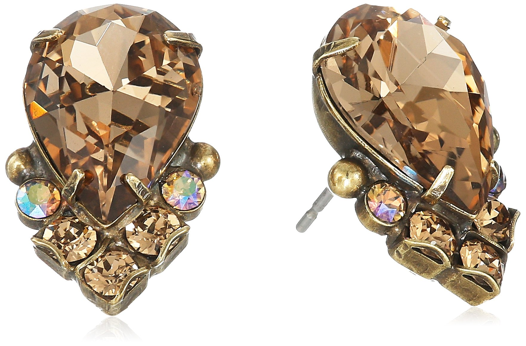 Sorrelli Core Antique Gold Tone Neutral Territory Crystal Teardrop and Cluster Post Stud Earrings by Sorrelli