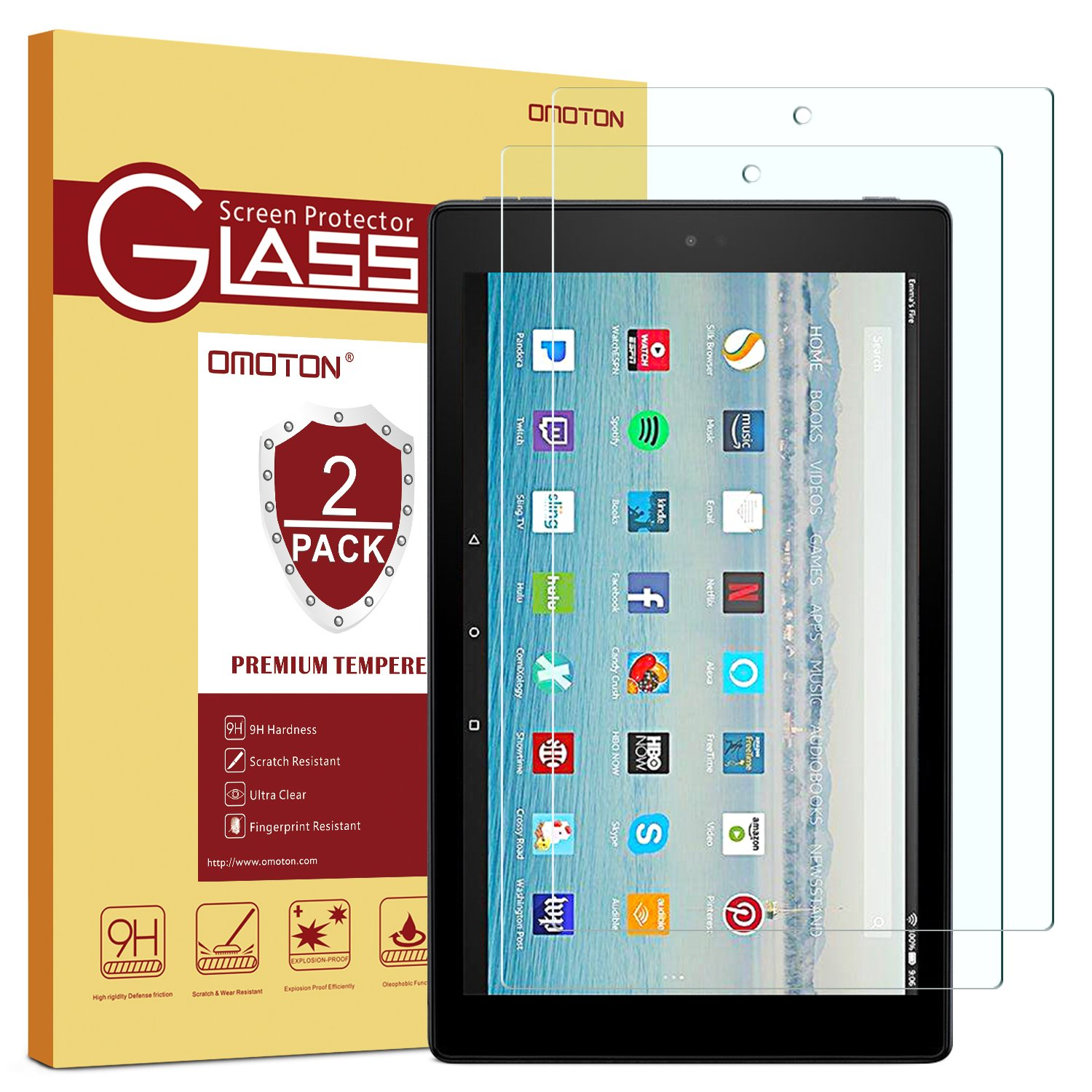[2-Pack] Fire HD 10 Screen Protector, OMOTON 9H Hardness HD Tempered Glass Screen Protector for Fire HD 10 / Fire HD 10 Kids Edition