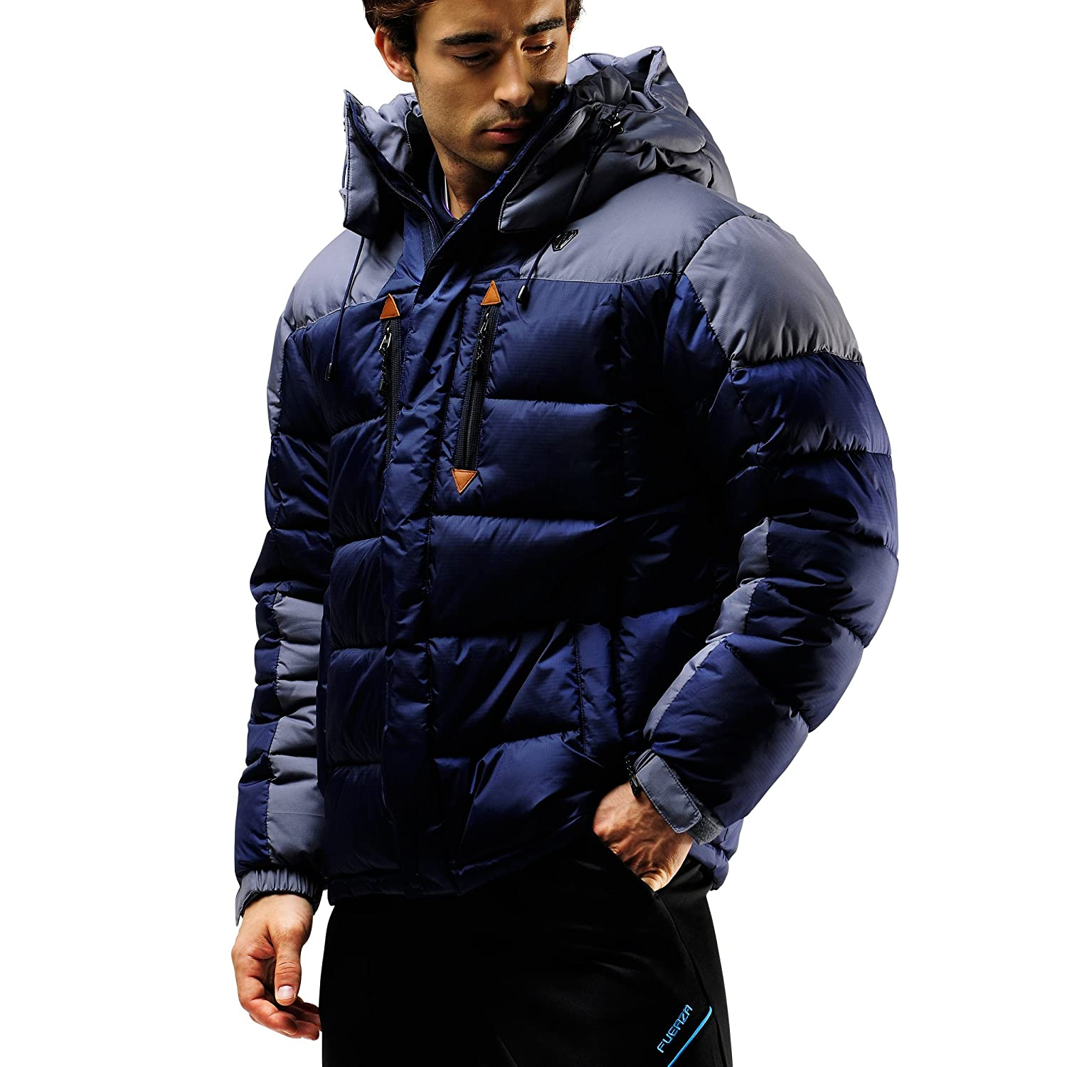 FUERZA Mens Winter Down Wellon Hooded Heavy Duty Parka Jacket - Dark Navy Fuerza North America
