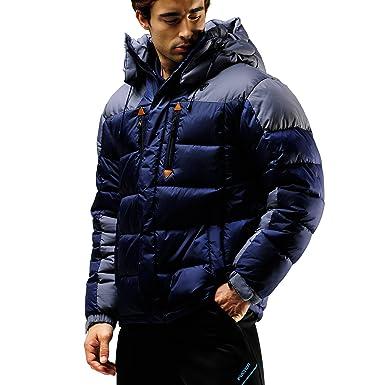 7dea6f154c27 Fuerza Mens Winter Down Wellon Hooded Heavy Duty Parka Jacket (X-Small