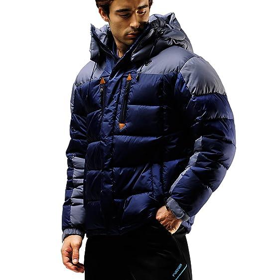 Fuerza Mens Winter Down Wellon Hooded Heavy Duty Parka Jacket at ...