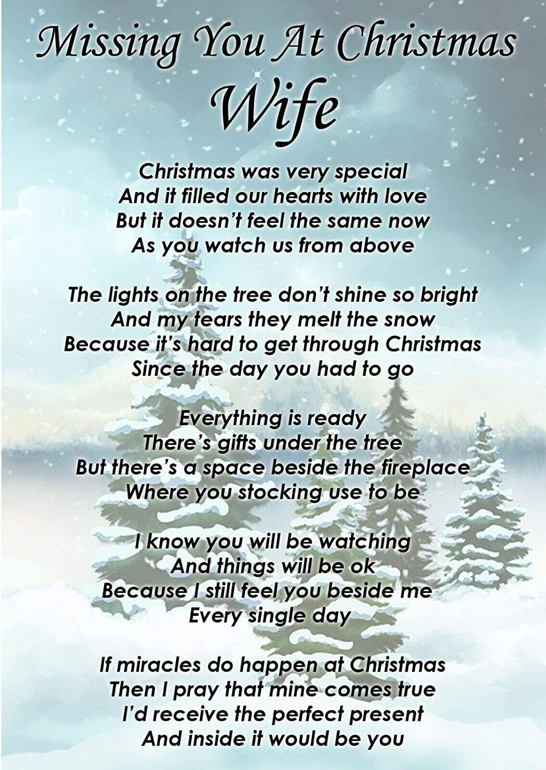 Lisas Gifts Missing You at Christmas Wife Memorial Graveside Funeral Poem Keepsake Card Includes Free Ground Stake F377