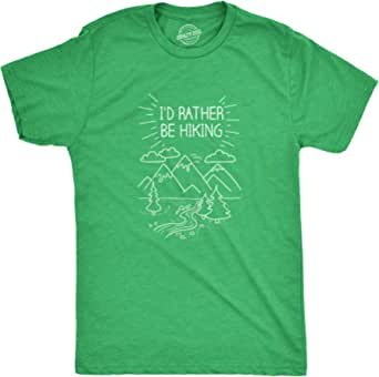 Mens I'd Rather Be Hiking Funny Summer Nature Camping T shirt