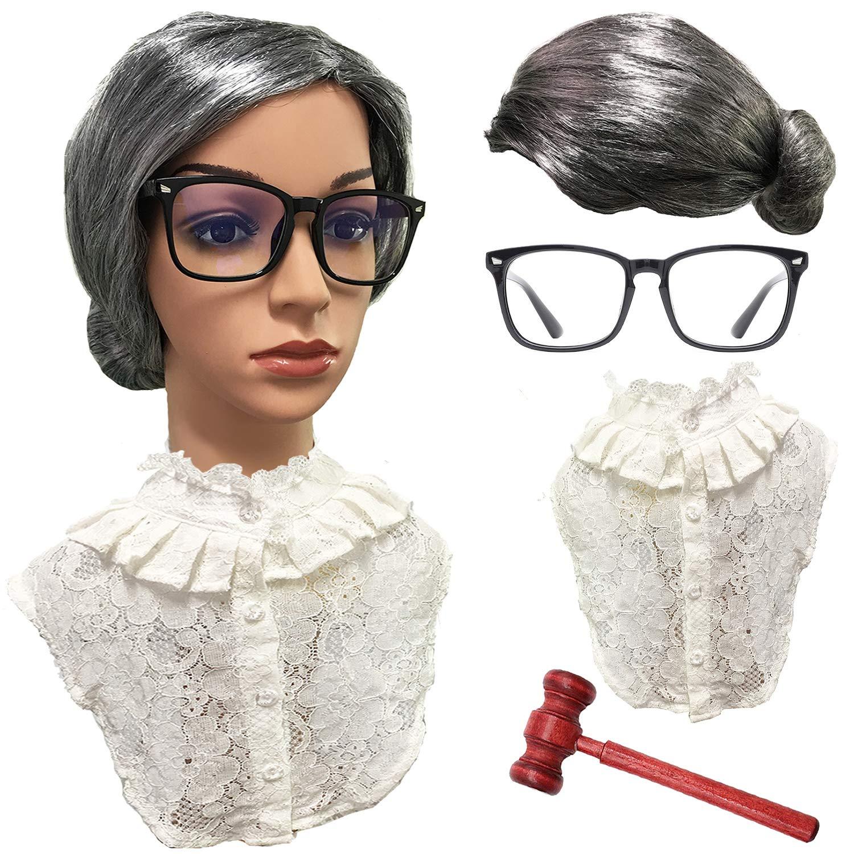 RBG Wig Set Old Lady Granny Wig,False Lace Collar Choker Blouse,Judge Gavel w//Large Nerdy Glasses