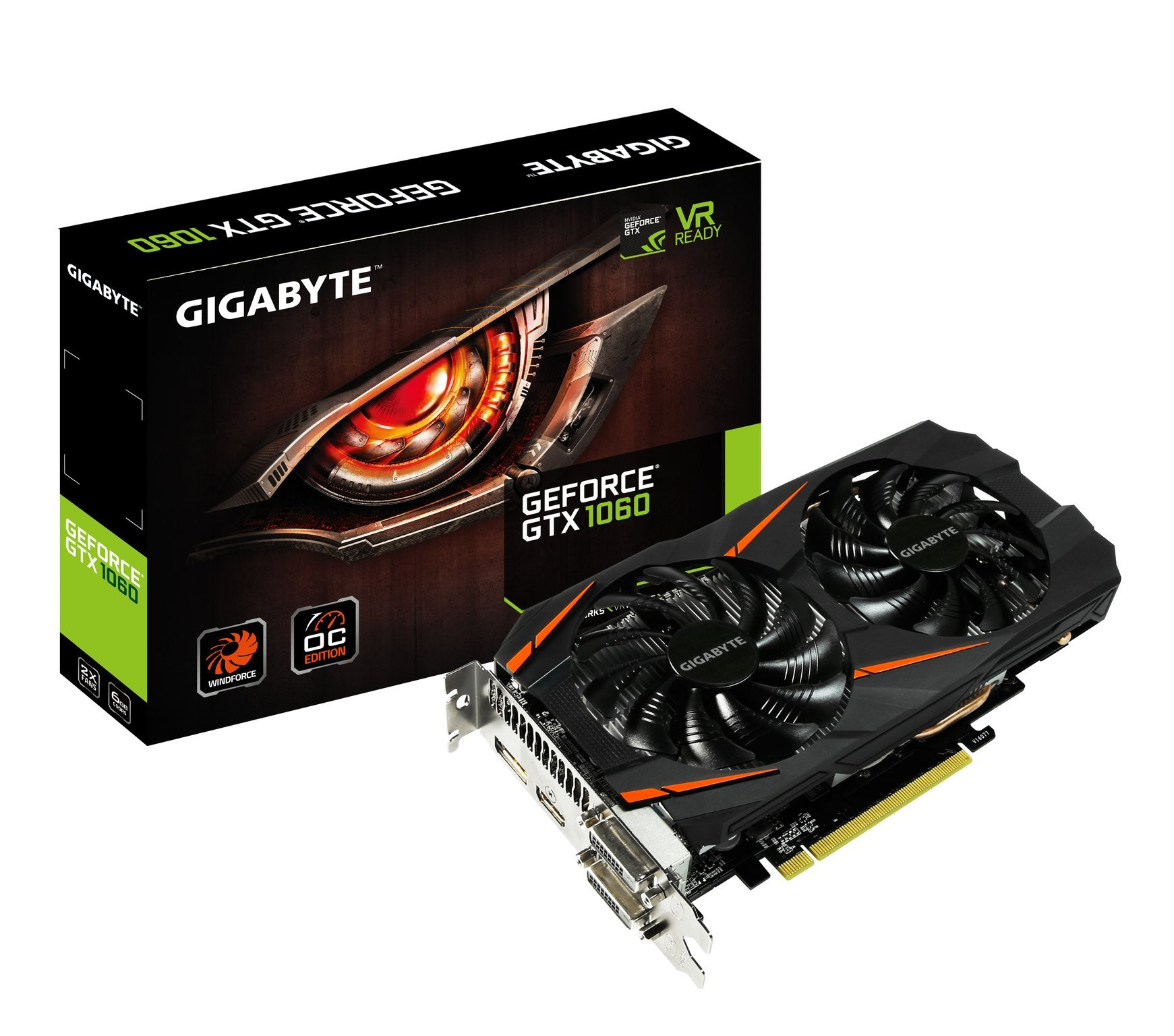 Gigabyte GeForce GTX 1060 WINDFORCE OC 6G (GV-N1060WF2OC-6GD) by Gigabyte