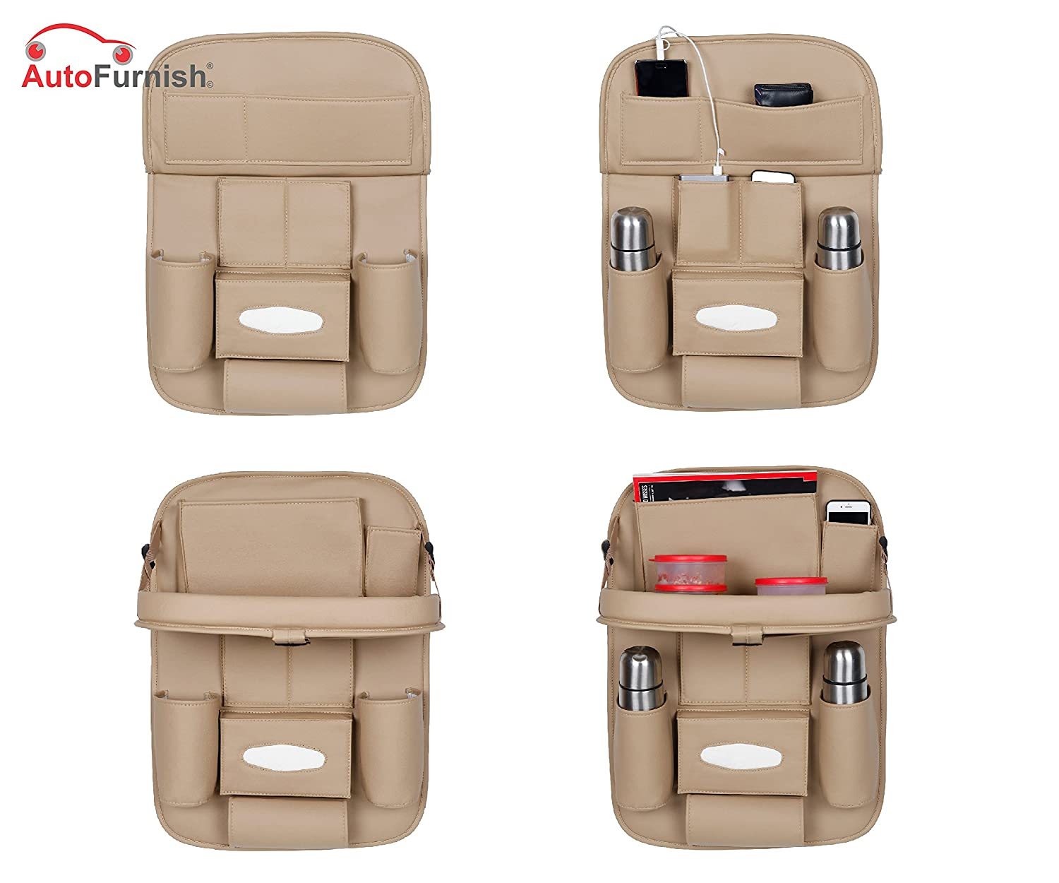 3D Car Back Seat Multi Pocket Organizer Bag with Car Meal Tray
