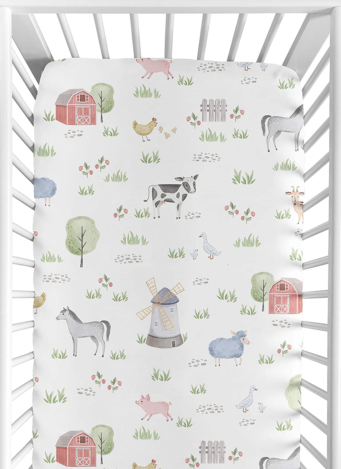 Sweet Jojo Designs Farm Animals Boy or Girl Fitted Crib Sheet Baby or Toddler Bed Nursery - Watercolor Farmhouse Horse Cow Sheep Pig