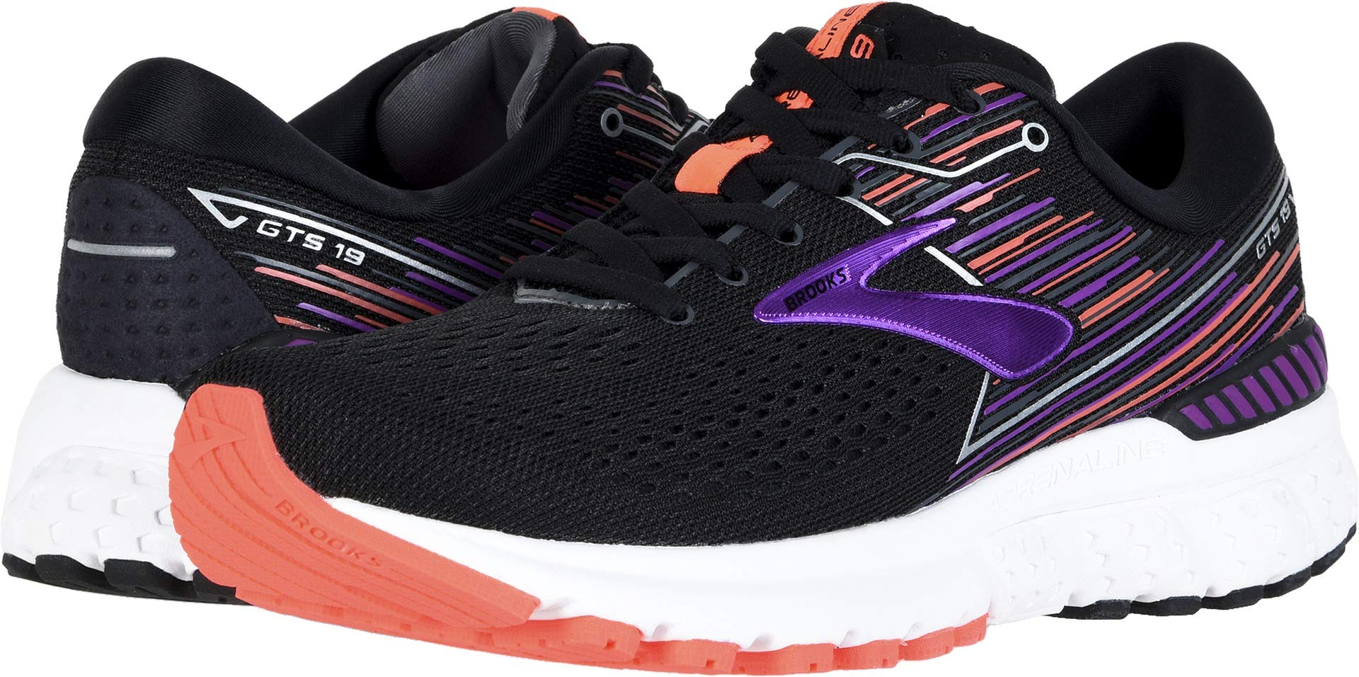 Brooks Women's Adrenaline GTS 19 Black/Purple/Coral 8.5 AA US by Brooks