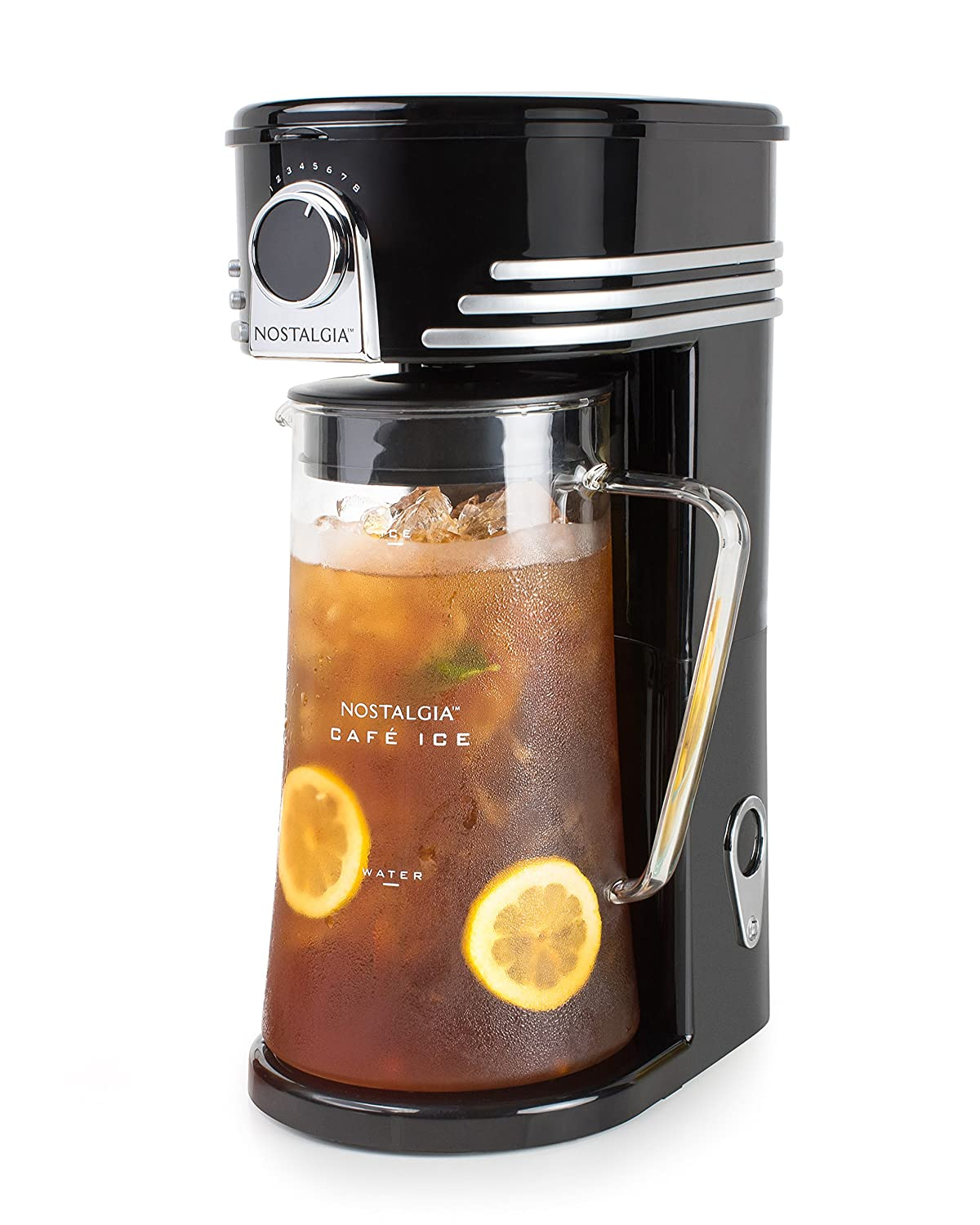 Nostalgia CI3BK Iced Coffee Maker and Tea Brewing System, Glass Pitcher, 3 quart Black