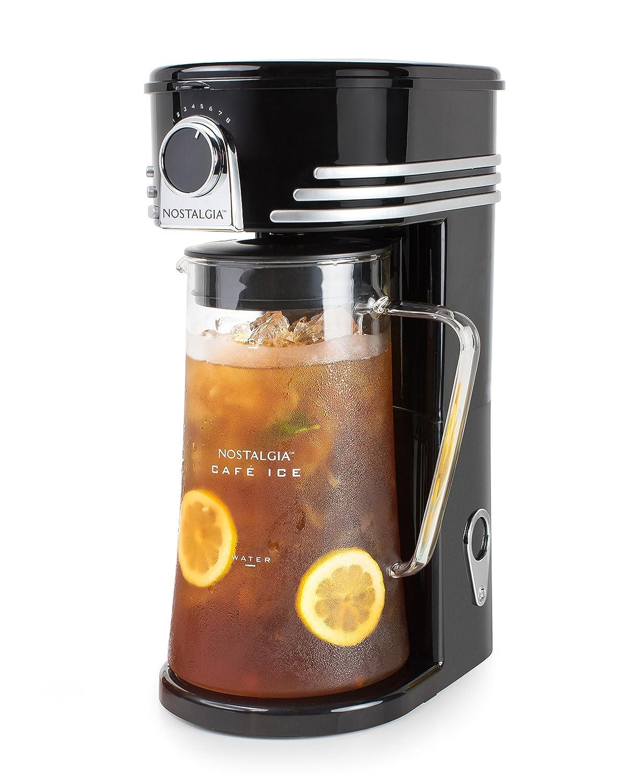 Nostalgia CI3BK Iced Coffee Maker and Tea Brewing System, Glass Pitcher, 3 quart Black