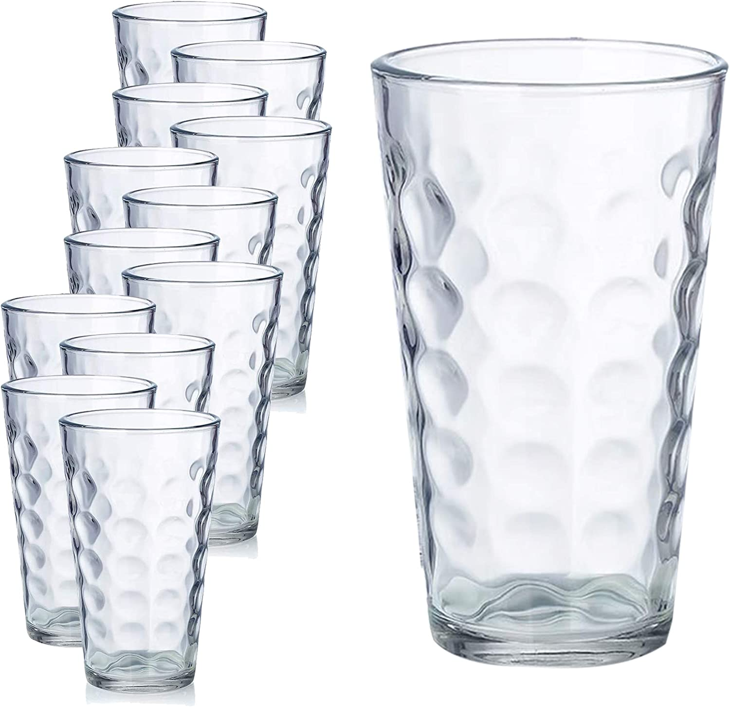 Chef's Star Clear Raindrop Drinking Water Glasses; Glassware Set with Heavy Base; Premium Durable Drinkware Ideal for All Occasions; 16 Ounces (12 Pack)