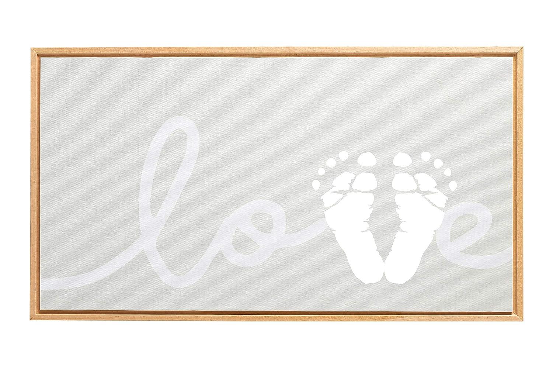 Pearhead Framed Babyprints Baby Footprint Love Canvas, Gender Neutral Nursery Decor for Baby Girl or Baby Boy, DIY Baby Keepsake, Gray