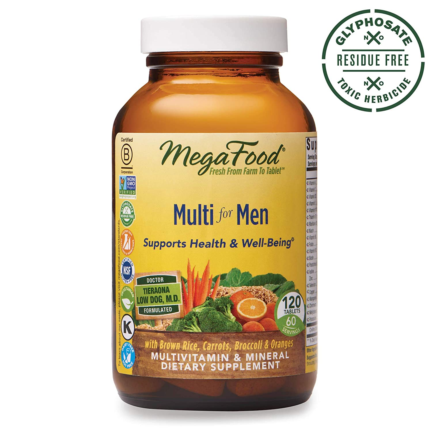 MegaFood, Multi for Men, Supports Optimal Health and Wellbeing, Multivitamin and Mineral Dietary Supplement, Gluten Free, Vegetarian, 120 Tablets 60 Servings