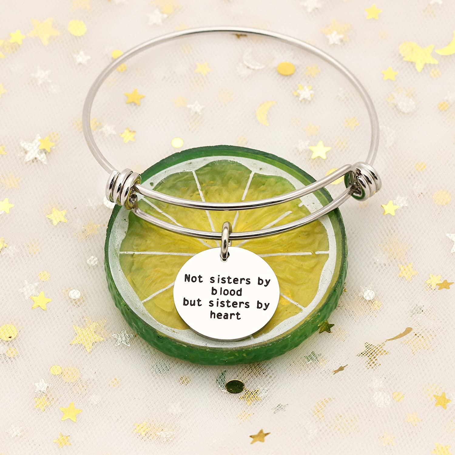 AGR8T Bangle Bracelets Inspirational Friend Jewelry Not Sisters by Blood But Sisters by Heart Bangle