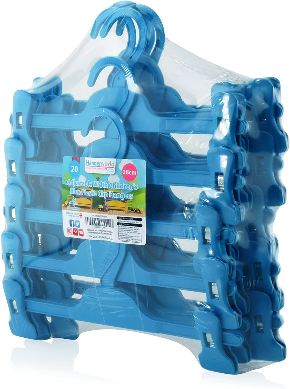 Hangerworld Lot de 20 cintres /à Pinces pour Jupe//Pantalon Enfant Bleu 28cm