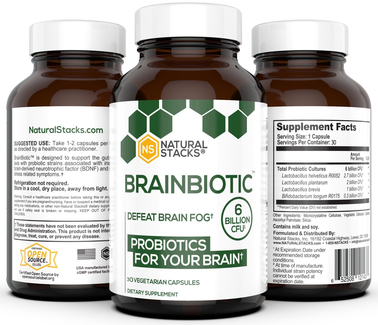 Brain Supplement - Natural Stacks - BrainBiotic - Gut-Brain Axis Optimizer - Contains Probiotics for Brain Health - Promotes Digestive Health - Enhances Memory Function - Stress Relief