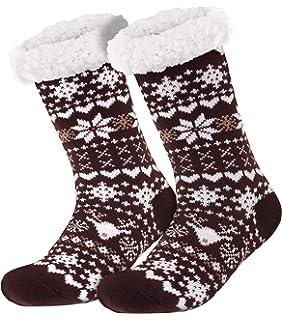 Damen ABS Strick Stoppersocken Schneeflocke weich und warm grau weiß  35-42