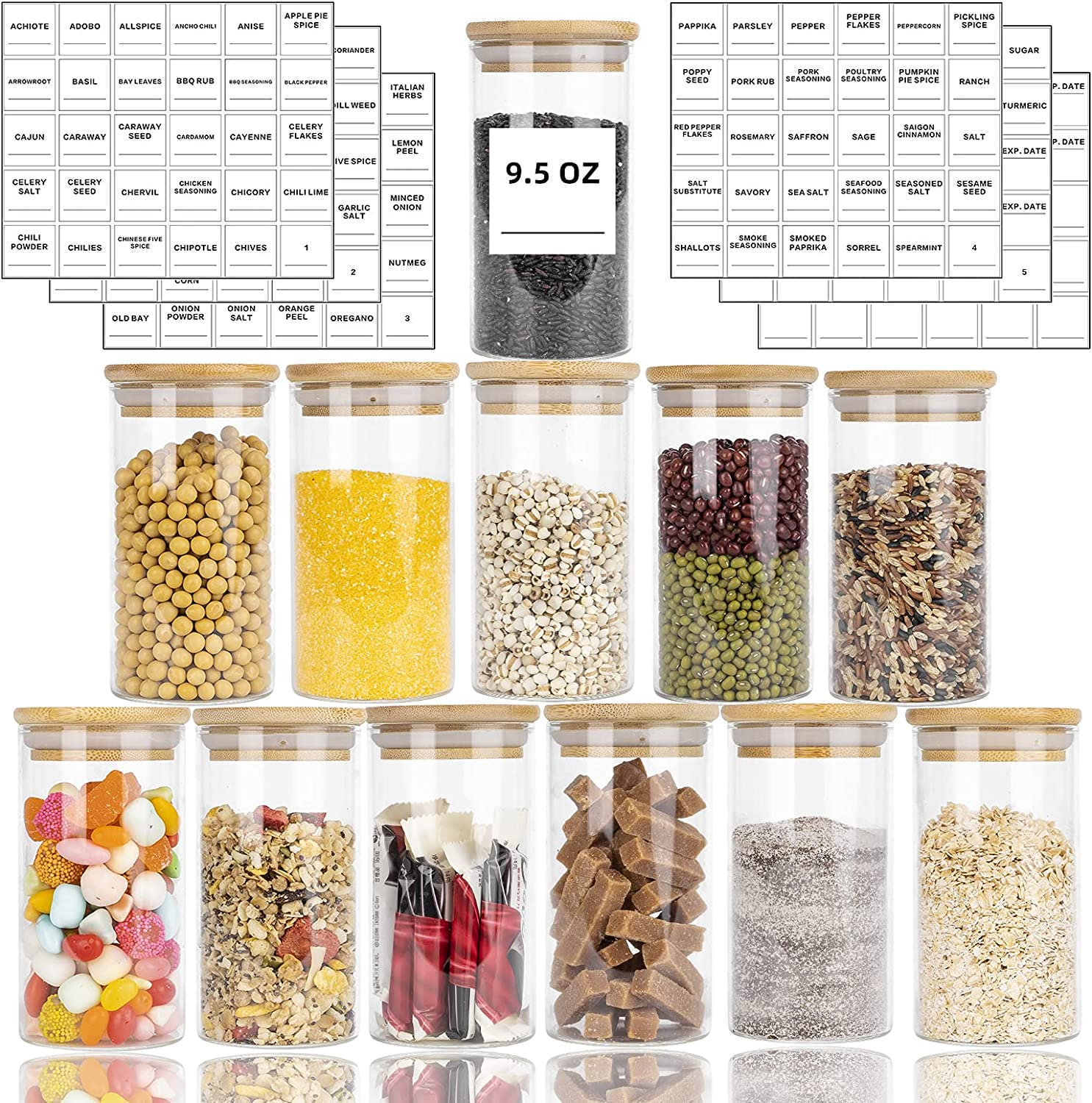 12 Piece Glass Spice Jars Set, 9.5oz Spices Jar with Bamboo Airtight Lids and Minimalist Square Waterproof Spice Labels Stickers, Mini Clear Food Storage Containers for Kitchen Canisters for Tea, Herbs(280ml)
