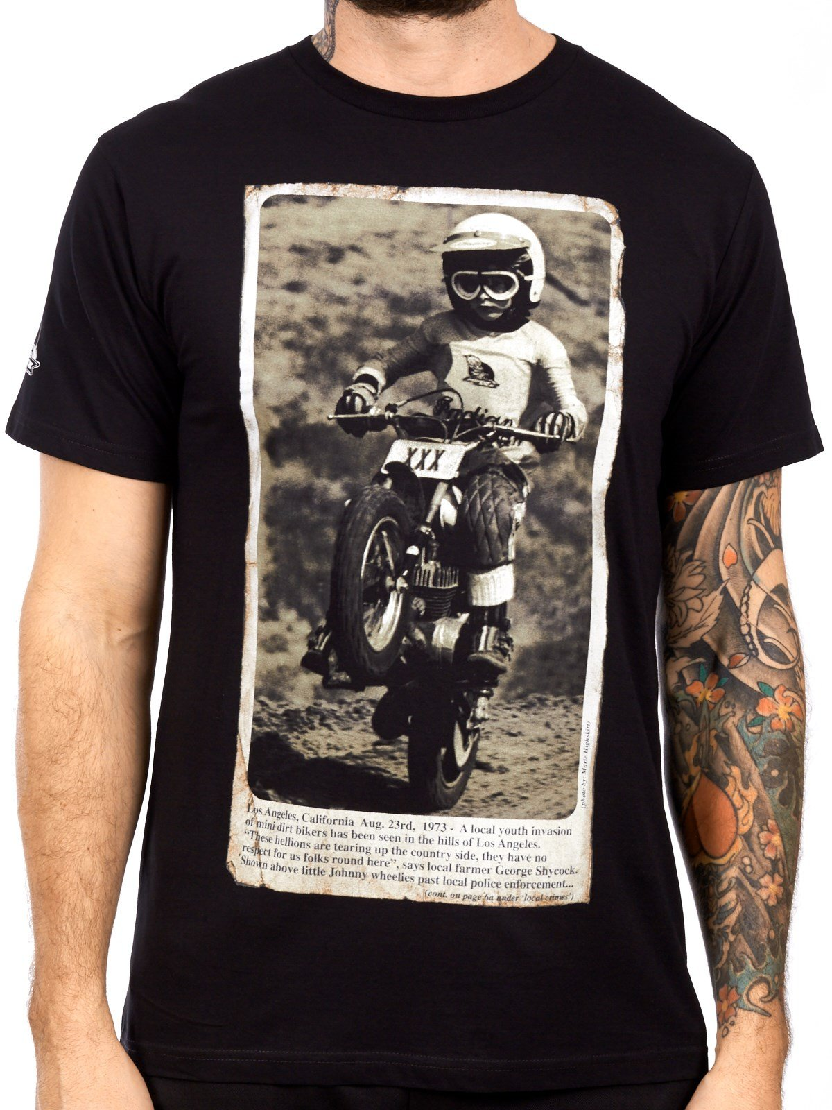 Moto XXX Men's 'Wheelie' Tee (Black, Large)