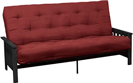 Berkeley 8-Inch Loft Inner Spring Futon Sofa Sleeper Bed, Queen-size, Black  Arm Finish, Microfiber Suede Cardinal Red Upholstery