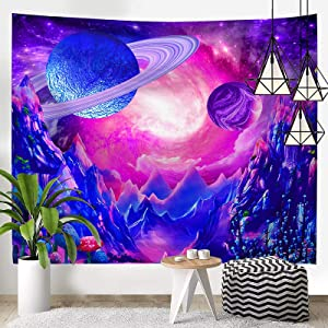 Uhsupris Space Tapestry Trippy Planet Tapestry Psychedelic Mushroom Tapestry Fantasy Galaxy Tapestry Mountain Tapestry wall Hanging for Bedroom Home Decor (H29.5
