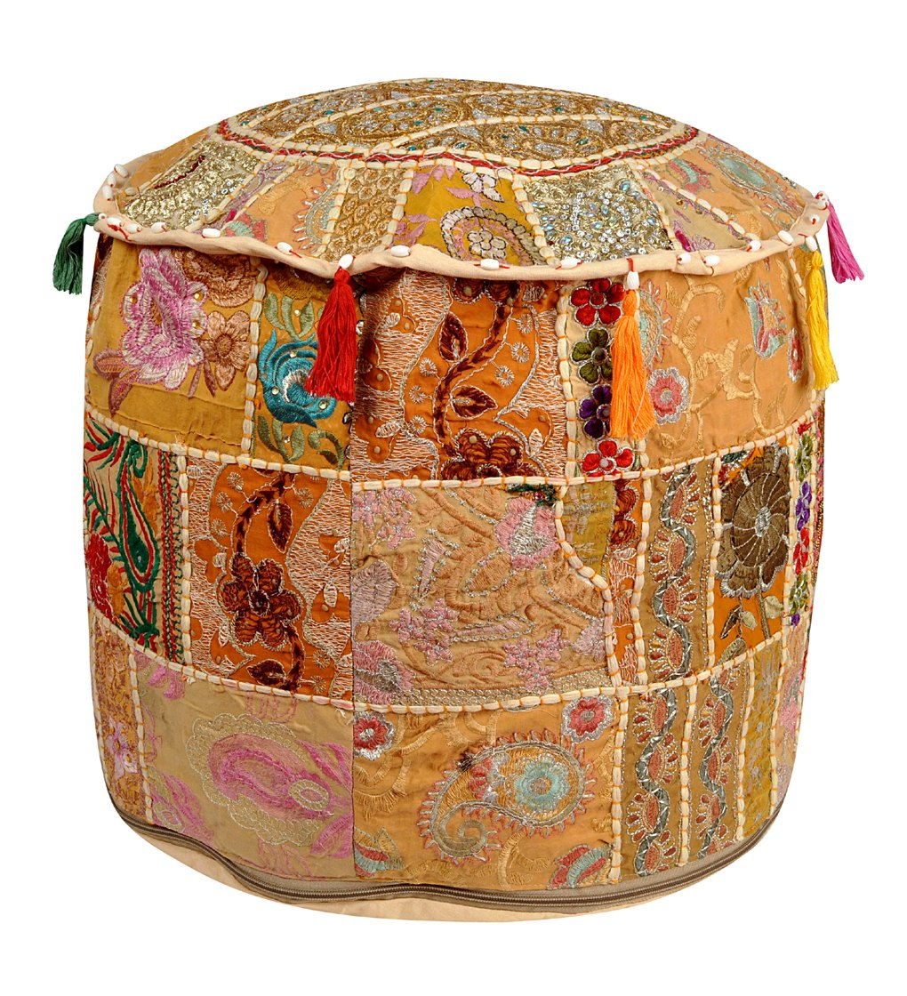 Lalhaveli Patchwork & Embroidery Design Cotton Round Foot Stool Ottoman Cover 18 X 18 X 14 Inches Lal Haveli OTM01235