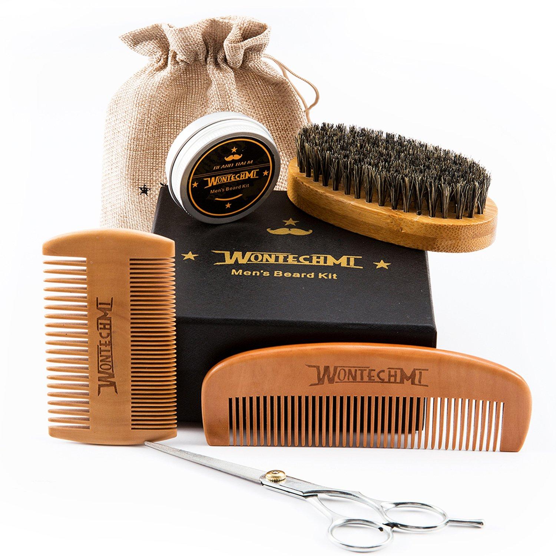 Kit de arreglo de barba, caballeros barba cepillo, peine de barba WONTECHMI, cepillo de cerdas de jabalí de barba, bigote y barba bálsamo de manteca de cera, tijeras para crecimiento, conformación y estilo premium Set de regalo. mbk88wt