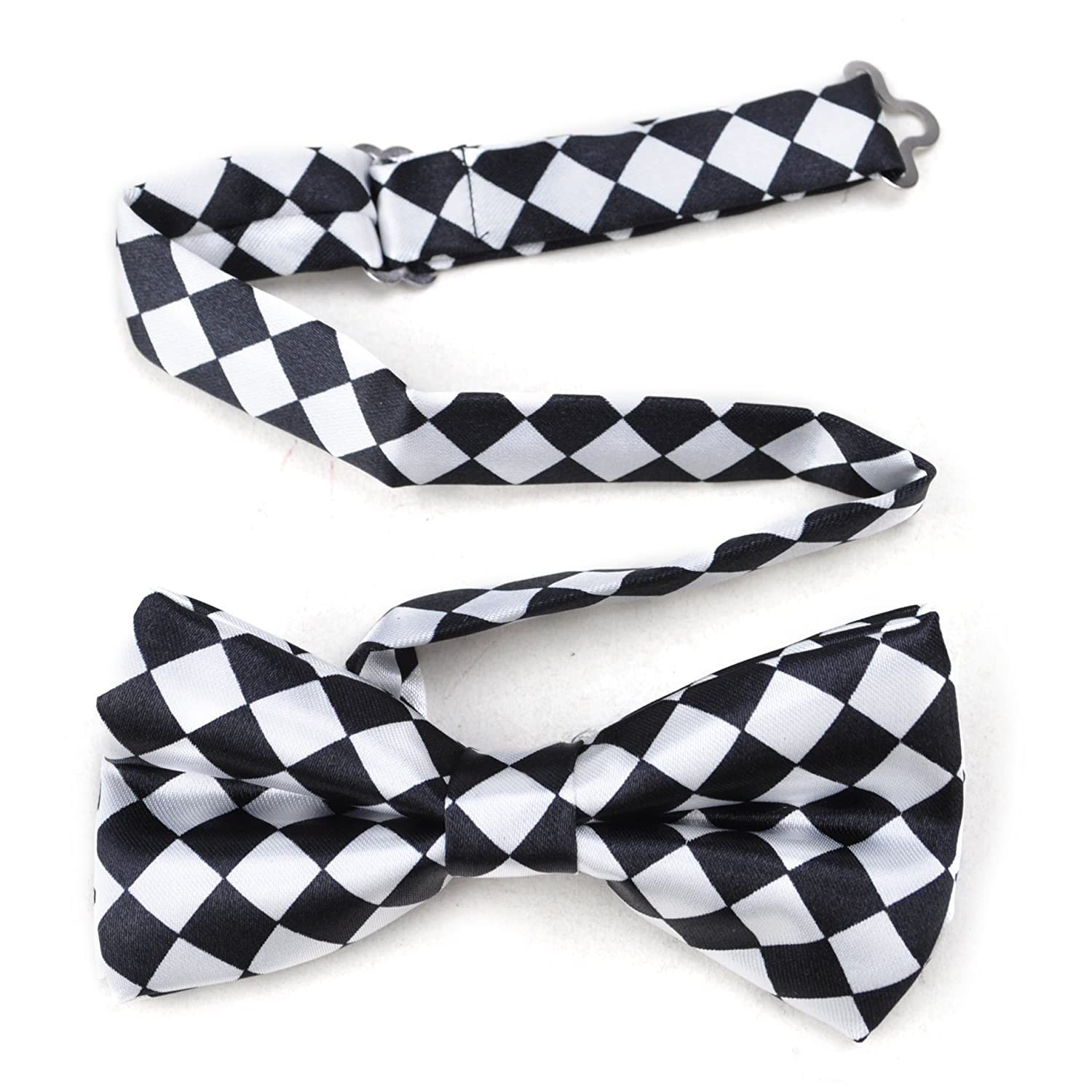 TopTie Mens Black /& White Checkerboard Pre-Tied Satin Formal Bow Tie