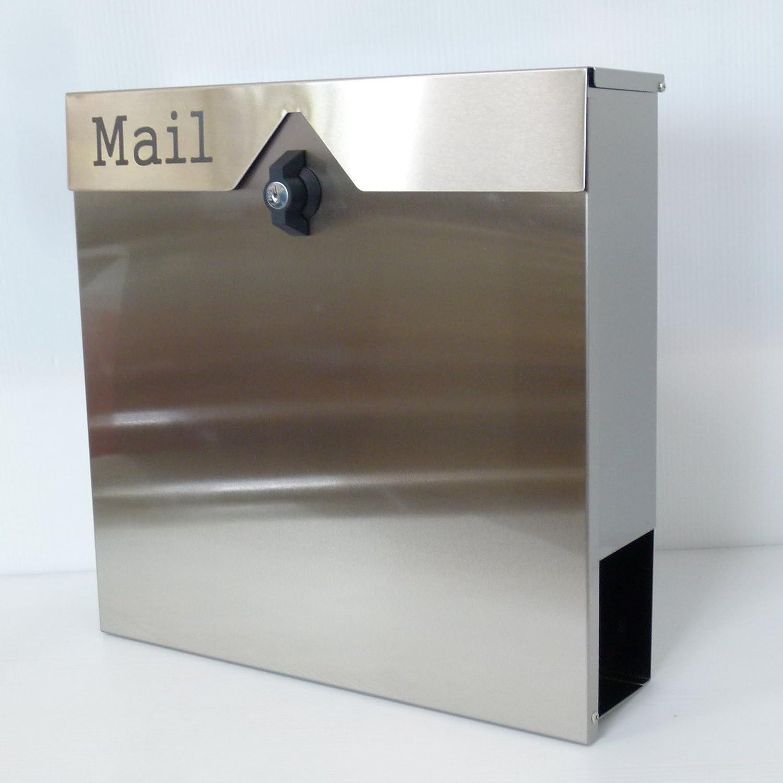 郵便ポスト郵便受け北欧風大型メールボックス 壁掛けプレミアムステンレスシルバー色ポストpm151 B018NNY3NA 12880
