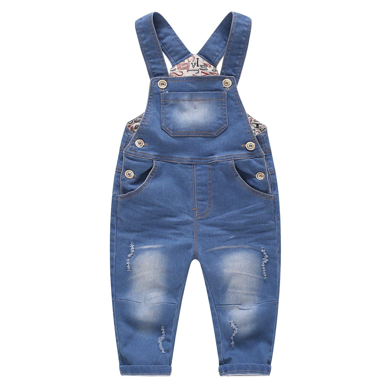 Kidscool Girls Ripped Holes Big Bibs Soft Slim Jeans Overalls