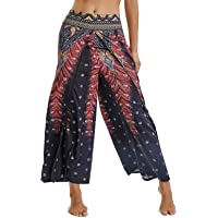 Pantalones de Yoga Mujer Harem Boho del Lazo del Pavo Real Flaral Funky
