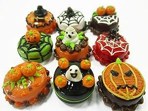 Dollhouse Miniature Food 9 Mini Halloween Mixed Cake 1.5 cm Bakery Supply 15452