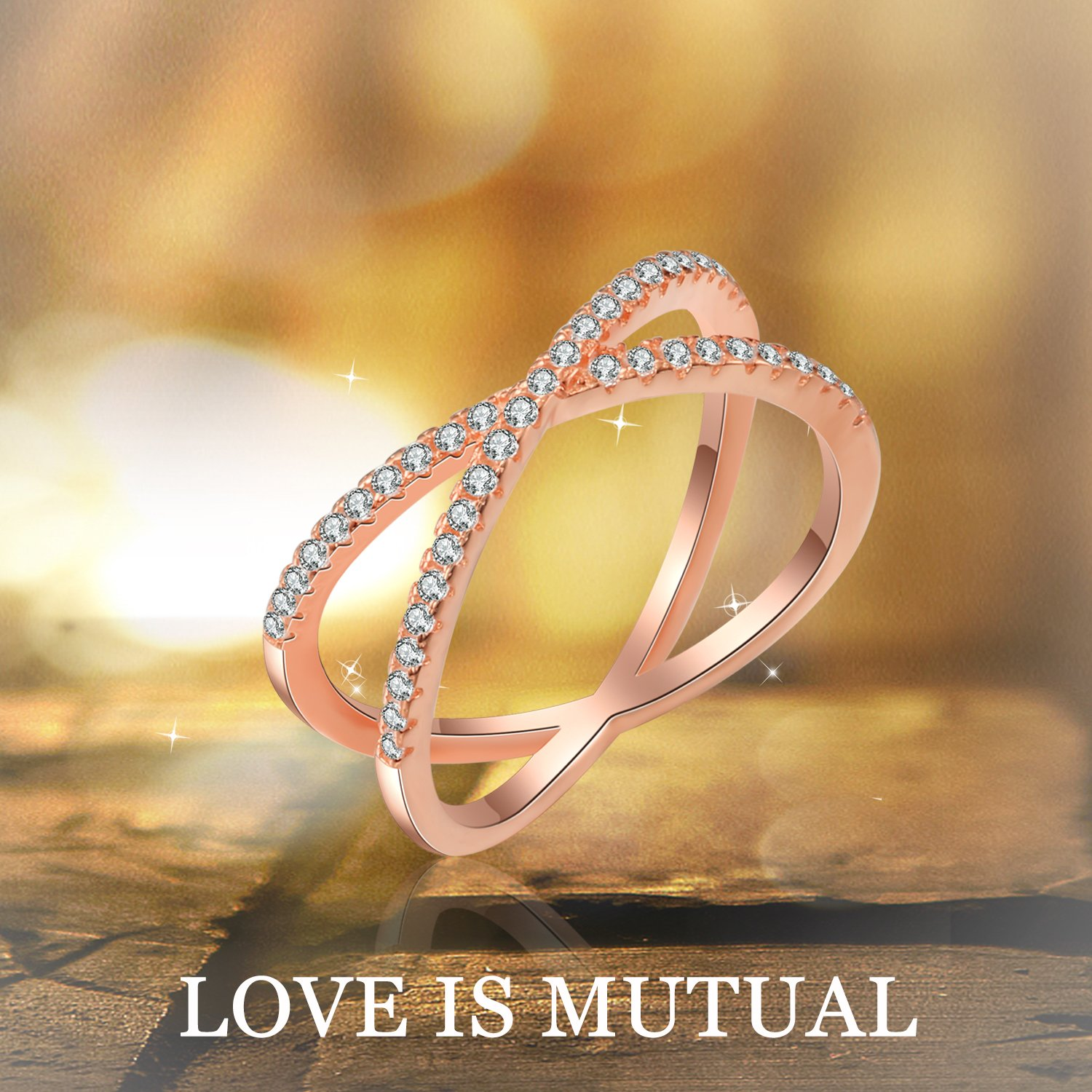 X Ring Sterling Silver, Cubic Zirconia X Criss Cross Ring Women, Size 6-8 (Rose-Gold-Plated-Silver, 7) by SISGEM (Image #6)