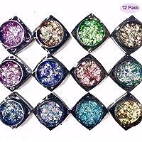 Nail Glitter Flakes - Nail Holographic Flakes Symphony Nails Glitter Nail Art Sequins Nail Jewelry Nail Flakes Powder Nail Art Decoration Flake Nails for Girls Women(12 Colors)