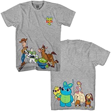 6b0e794cc Amazon.com: Disney Pixar Toy Story 4 Happy Crew Woody Buzz Bo Peep Movie  Disneyland World Tee Funny Humor Men's Graphic T-Shirt: Clothing
