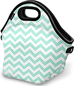 Kaptron Lunch Bag, Thick insulated Lunch Tote Lunch Box Bag with Shoulder Straps - Cover for adults, women, girls, school children - Suitable for Travel, Picnic, Office (Mint Green, Large)