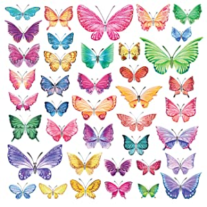 Decowall DW-1602 Watercolour Butterflies Kids Wall Decals Wall Stickers Peel and Stick Removable Wall Stickers for Kids Nursery Bedroom Living Room
