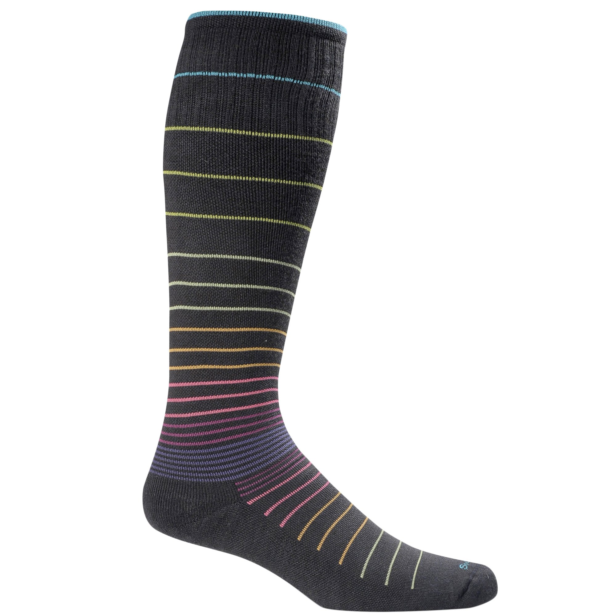 Sockwell Women's Circulator Graduated Compression Socks-Ideal for-Travel-Sports-Nurses-Reduces Swelling, Medium/Large(8-11), Black Stripe