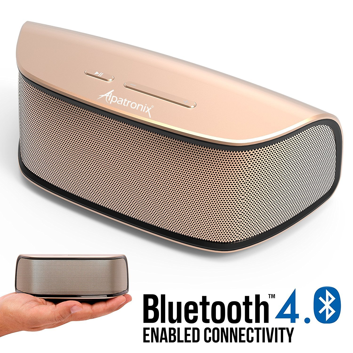 Bluetooth Speakers, Alpatronix AX420 Universal HD 10W Portable Rechargeable Wireless Stereo Bluetooth Speaker w/Mic, Subwoofer, Volume/Playback Controls for Smartphones, Tablets & Computers - Gold