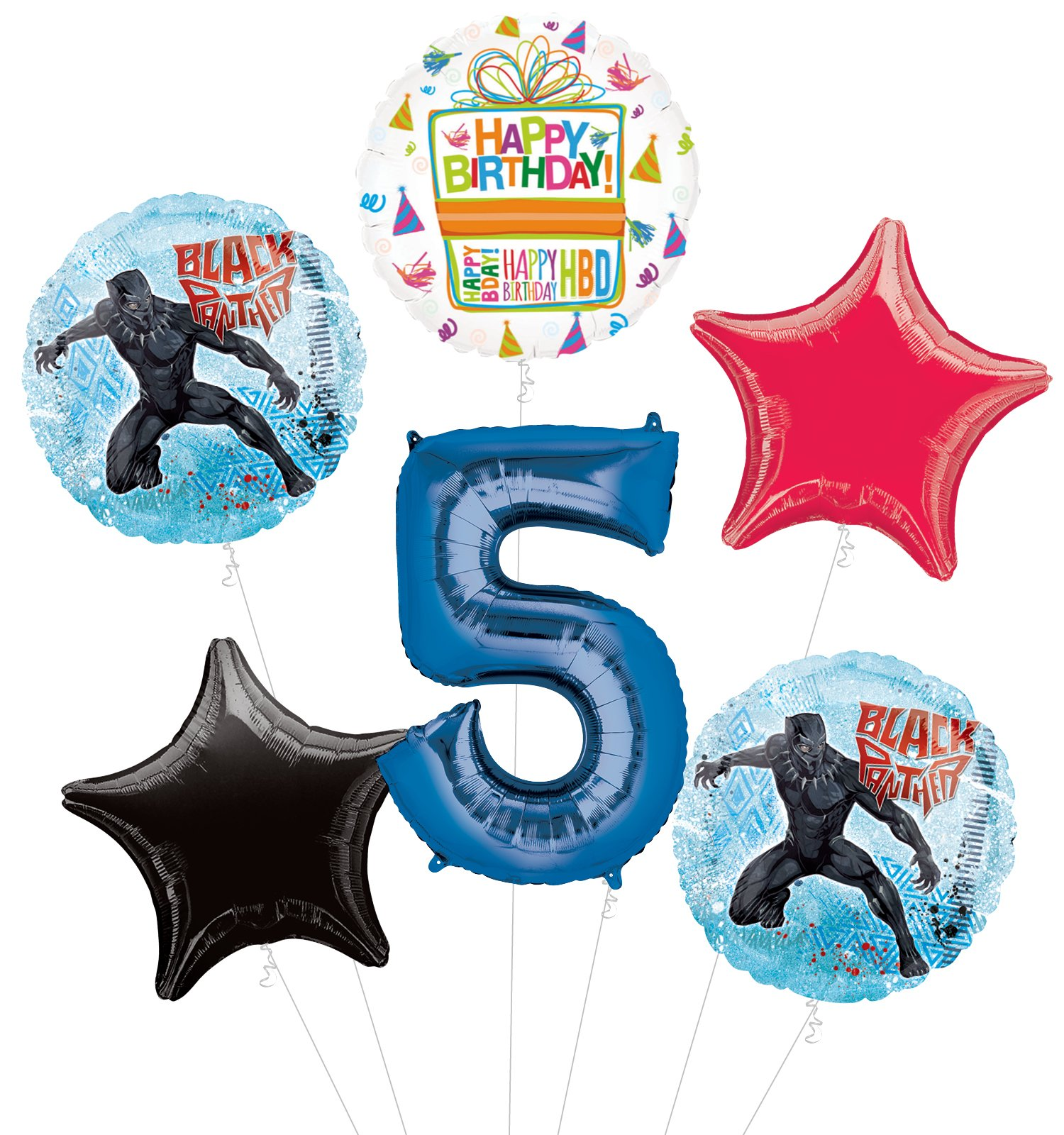 Black Panther 5th Birthday Party Supplies Balloon Bouquet Decorations
